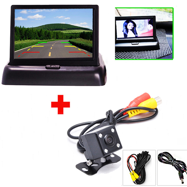 Auto Parking Assist 4.3 Inch tft LCD Foldable Car Rearview Display Monitor with Night Vision Car Reverse Backup Rear View Camera
