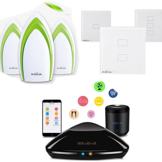 Broadlink TC2  Smart Switch Cover Plate + RM3 Pro RM Mini 3 Black Bean + A1 Sensor E-air Air Quality Detector Smart Home Automat