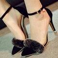 2016 primavera novas Mulheres da moda sapatos finos com alta-sapatos cabelo real transparente sapatos de salto alto Mulheres bombas