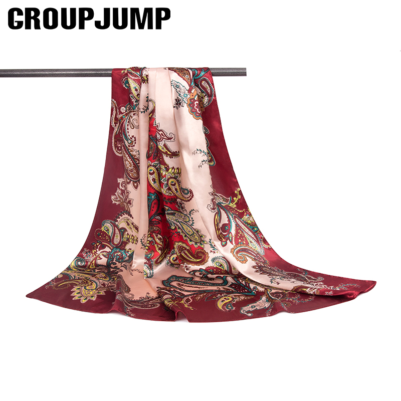 GROUP JUMP 2018 New Spring Scarf Soft Silk Women Scarves Thin Square Shawl Womens Gift Ladies Neck Wear Accessories 90*90cm