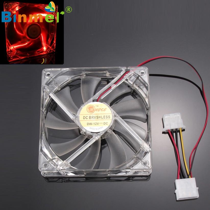 2017 New Red Quad 4-LED Light Neon Clear 120mm PC Computer Case Cooling Fan Mod JUN8 powerball neon red pro кистевой тренажер со счетчиком
