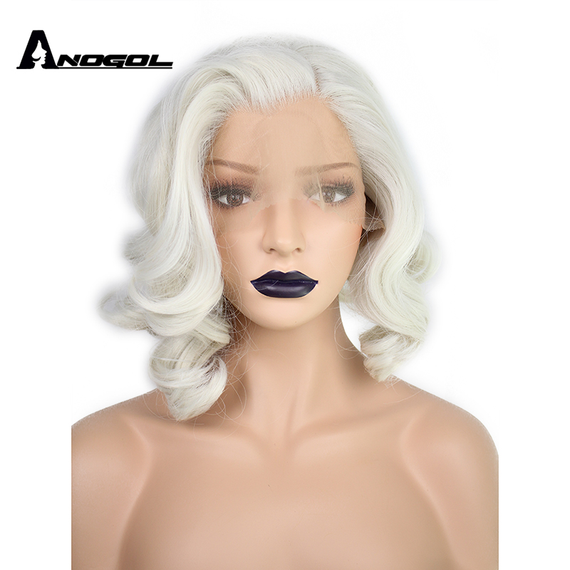 Anogol Short Body Wave Bob White Blonde Free Part Wave High Temperature Fiber Synthetic Hair Lace