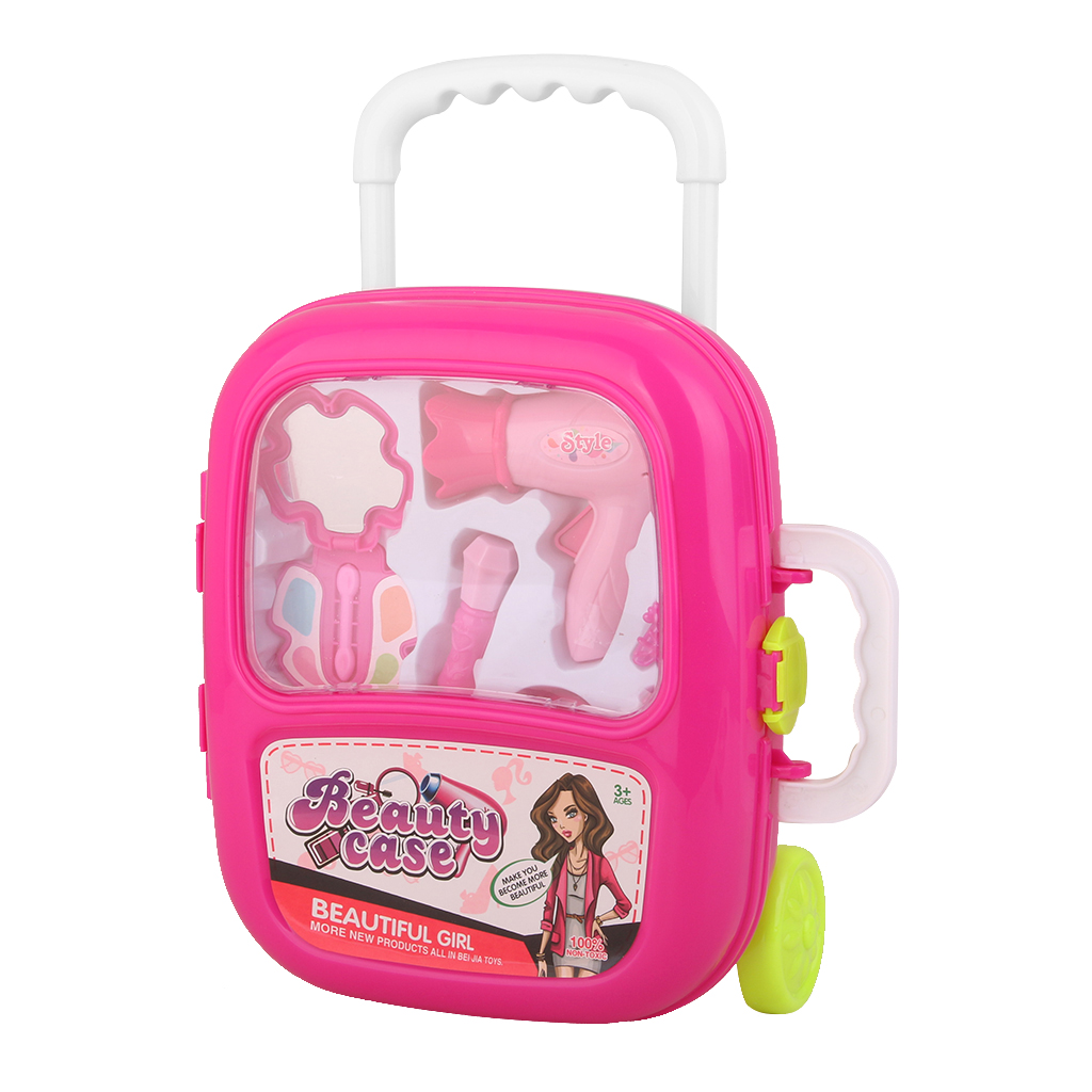 Beautician Necessarie Girls Toy Vanity Beauty Cosmetic Bag Carry Case Hair  Dryer Make Up Gift Set