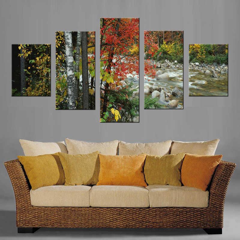 5 Sztuk/zestaw Wsi Oprawione Płótno Wall Art Picture Blejtram Nowoczesna Ściana wody Obrazy Top Home Decoration/XYZ-njy-148-01