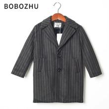 bobozhu Boys Striped Long Suit Spring Winter England Style Casual Woolen Suit Imitation Rabbit Fur Lining Blazers Warm Coats