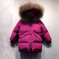 Baby Girls Jacket 2018 Winter Jacket For Girls Coat Kids Warm Fur Hooded Outerwear Coat kids Jacket Girls Clothes natural fu