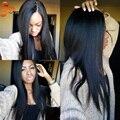 Sin procesar 6A Yaki italiano peluca llena Yaki ligero virgen del cordón del pelo humano pelucas para mujeres negras pelucas delanteras del cordón Glueless
