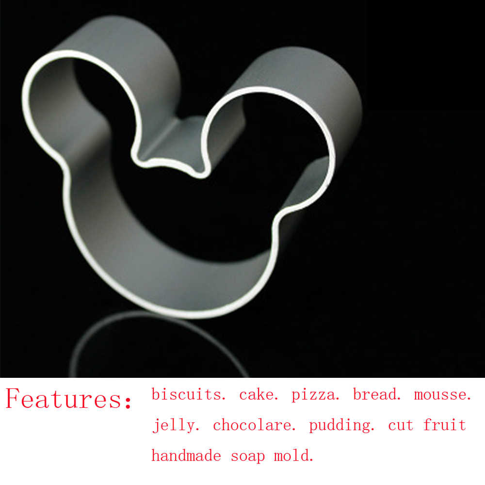 Hot 1PCS Aluminum Mold Mickey Shape Fondant Cake Decorative tools 3D Pastry Cookie Cutter Biscuit mould A127
