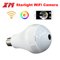 360 Panoramin Smart Home Safty Wifi VR Camera LED Bulb Security Camcorder Motion Detection CCTV Support