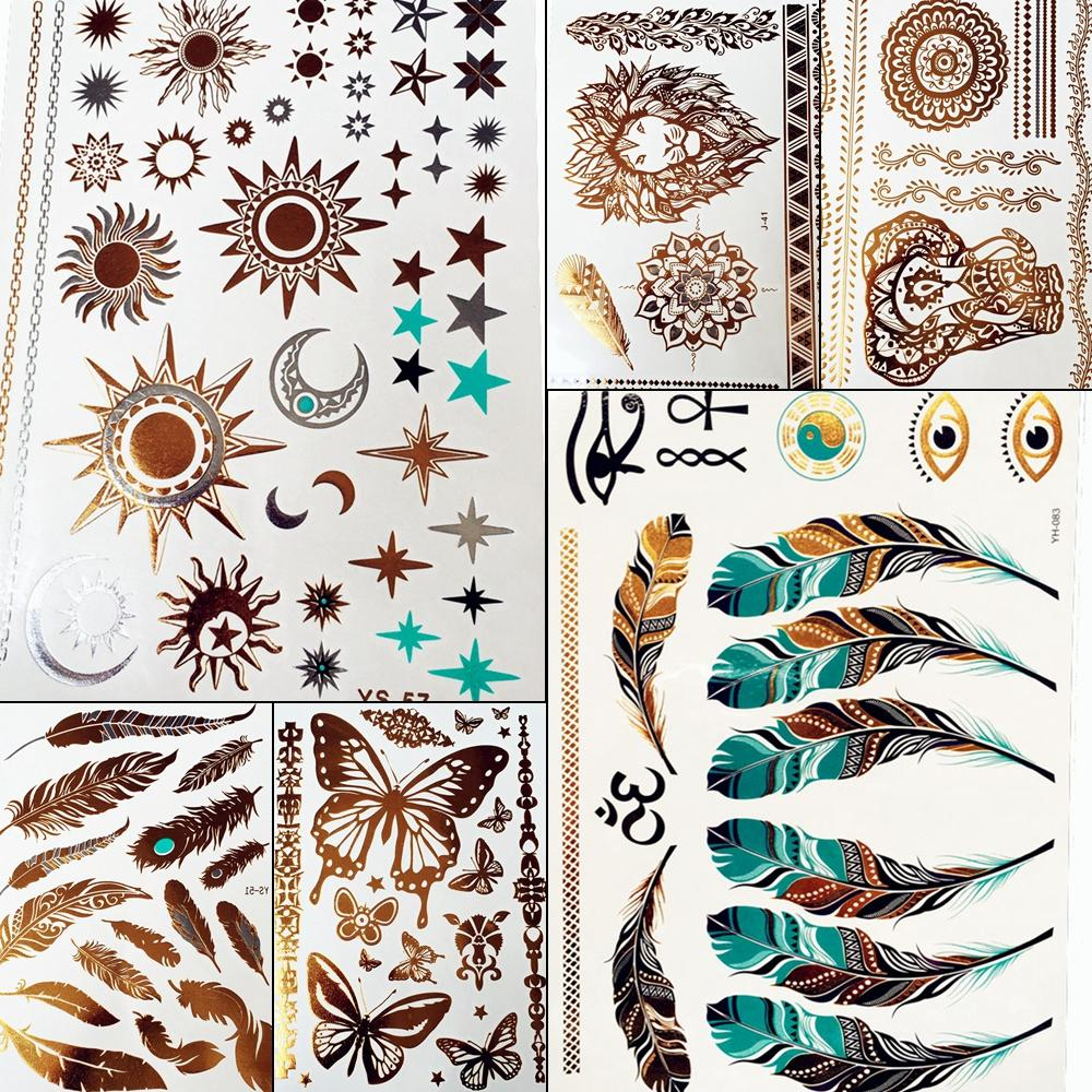 Gold Sun Silver Moon Temporary Tattoo Stickers Women Kids Body Art Star Feather Golden Metallic Water Transfer Flash Tatoo Child