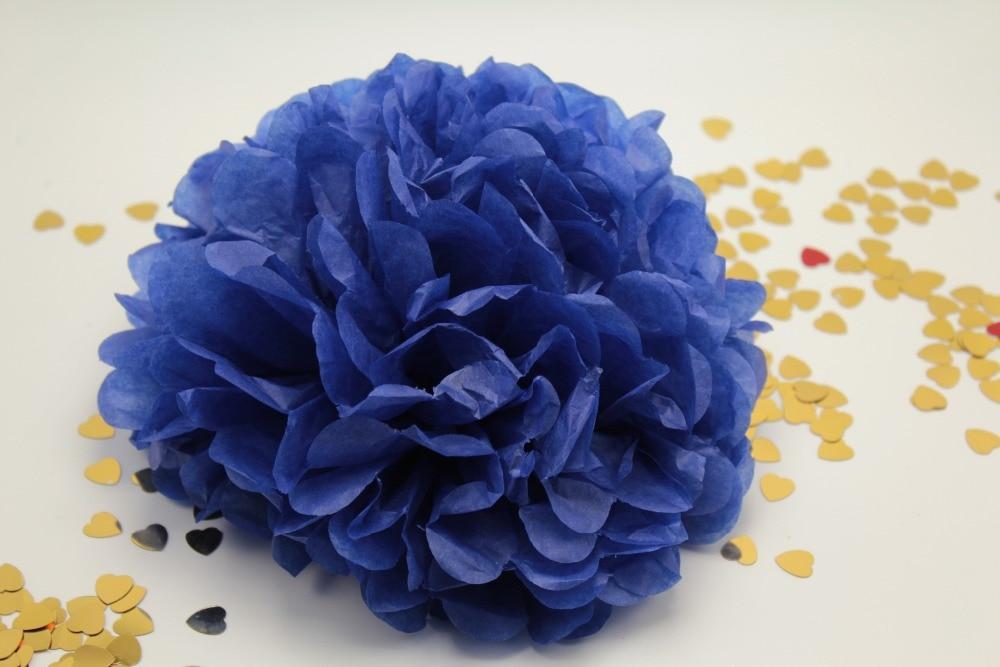 10pcs 10 Inches Tissue Paper Pom Poms Royal Blue Flower Balls