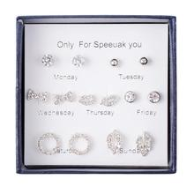 цена на 7Pcs/Set Fashion Geometric Round Stud Earrings for Women 2019 New Rhinestone Leaves Lips Variety of Earrings Jewelry Pendientes