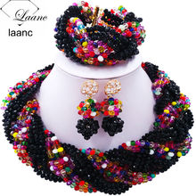 hot deal buy 12 rows latest black multicolour crystal plait african beads jewelry set 2017 nigerian wedding bridal jewelry sets 12bz005