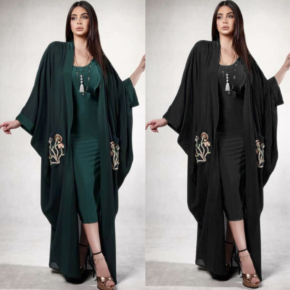 Muslim Embroidery Abaya Cardigan Bat Sleeve Maxi Dress Loose Kimono Long Robes Vestidos Middle East Ramadan  Turkish Islamic