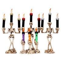 Смоляный светодиодный подсвечник с 3 дужками с черепом и каркасом, подсвечник для дома, Хэллоуин, вечерние, сделай сам, декоративный подсвеч...