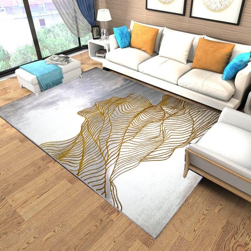 Nouvelles lignes d'or tapis pour salon Villas de luxe chambre tapis canapé Table basse tapis doux étude tapis maison tapis de sol-in Tapis from Maison & Animalerie    1