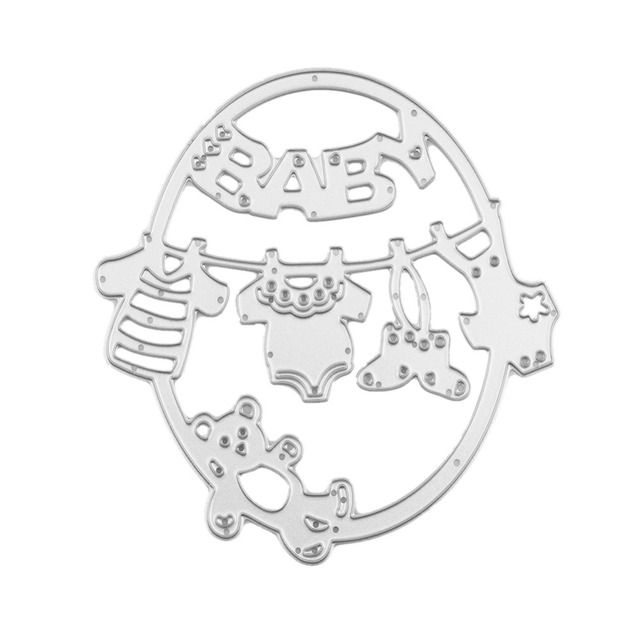 oval hang baby clothes bear template pattern diy metal cutting die