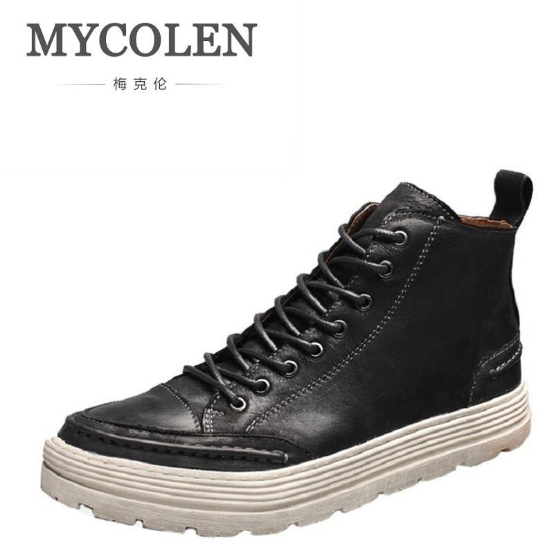 Schwarzes Short Leder Beiläufigen Echtem Herren Stiefeletten Braun Schuhe brown Mycolen Herbst Bota Lace Up Männer Mode Neuen Aus Militar OYn8T