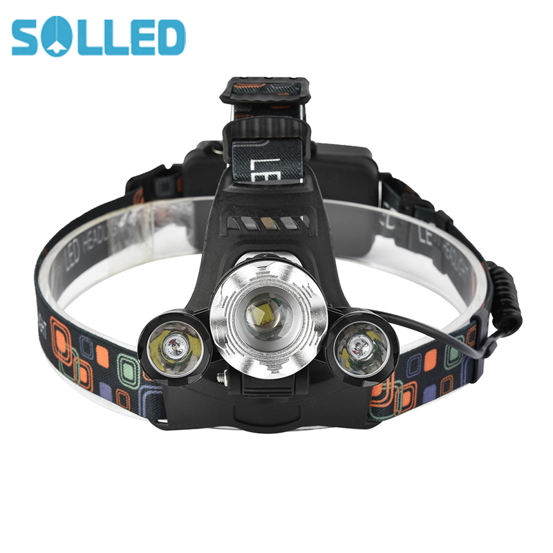 SOLLED 7000Lm Rechargeable Headlamp XMLT6+2XPE Headlight LED Camping Fishing Flashlight 4-modes Waterproof