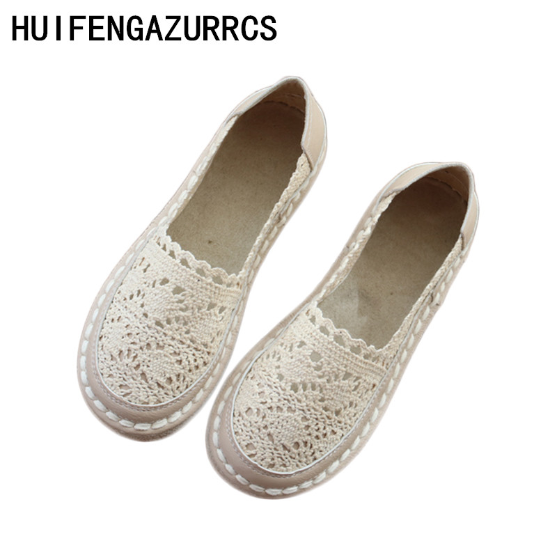 HUIFENGAZURRCS Korean literary lace loafer shoes hollow fisherman shoes pedal white shoes pure handmade flatsts shoes