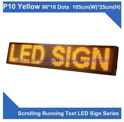 P10 yellow Semi-outdoor led display screen 96*16 dots 1050mm(W)*250mm(H),scrolling running text led sign ...