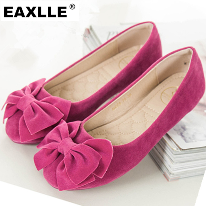 Plus Size 43 Brand New Round Toe Flat Shoes With Bowtie Cow Suede Oxfords Non-slip Outsole Casual Soft Women