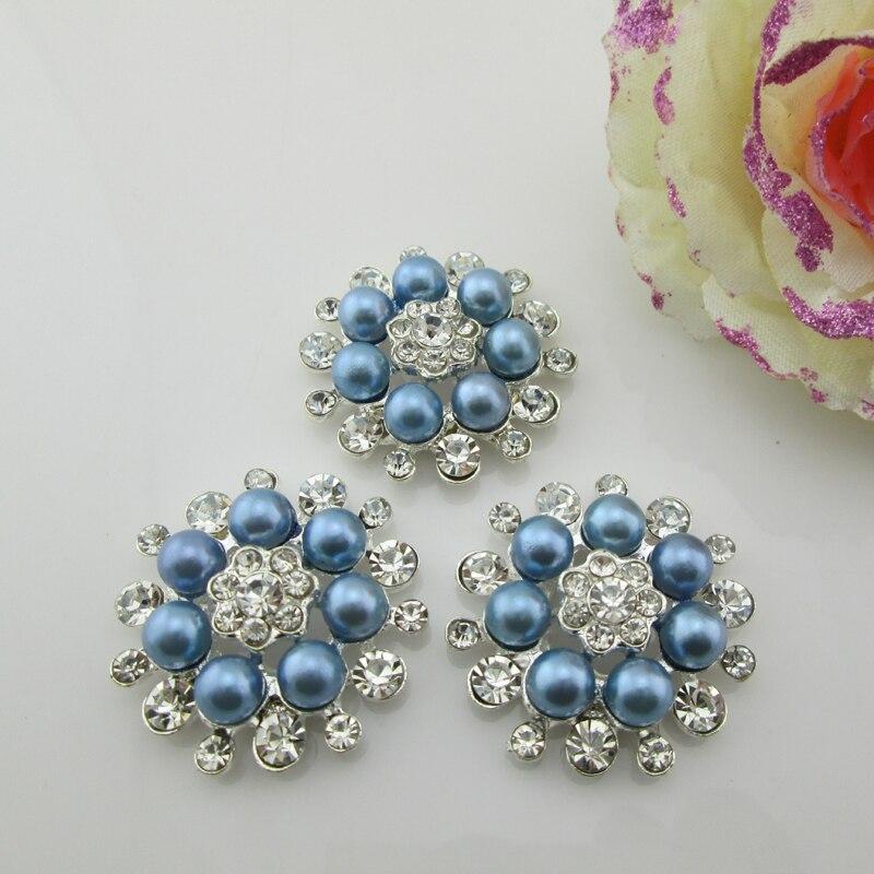 (BT202 33mm)5pcs Flower Blue Pearl Alloy Button Rhinestone Buttons Flat Back Embellishment DIY Hair Accessory