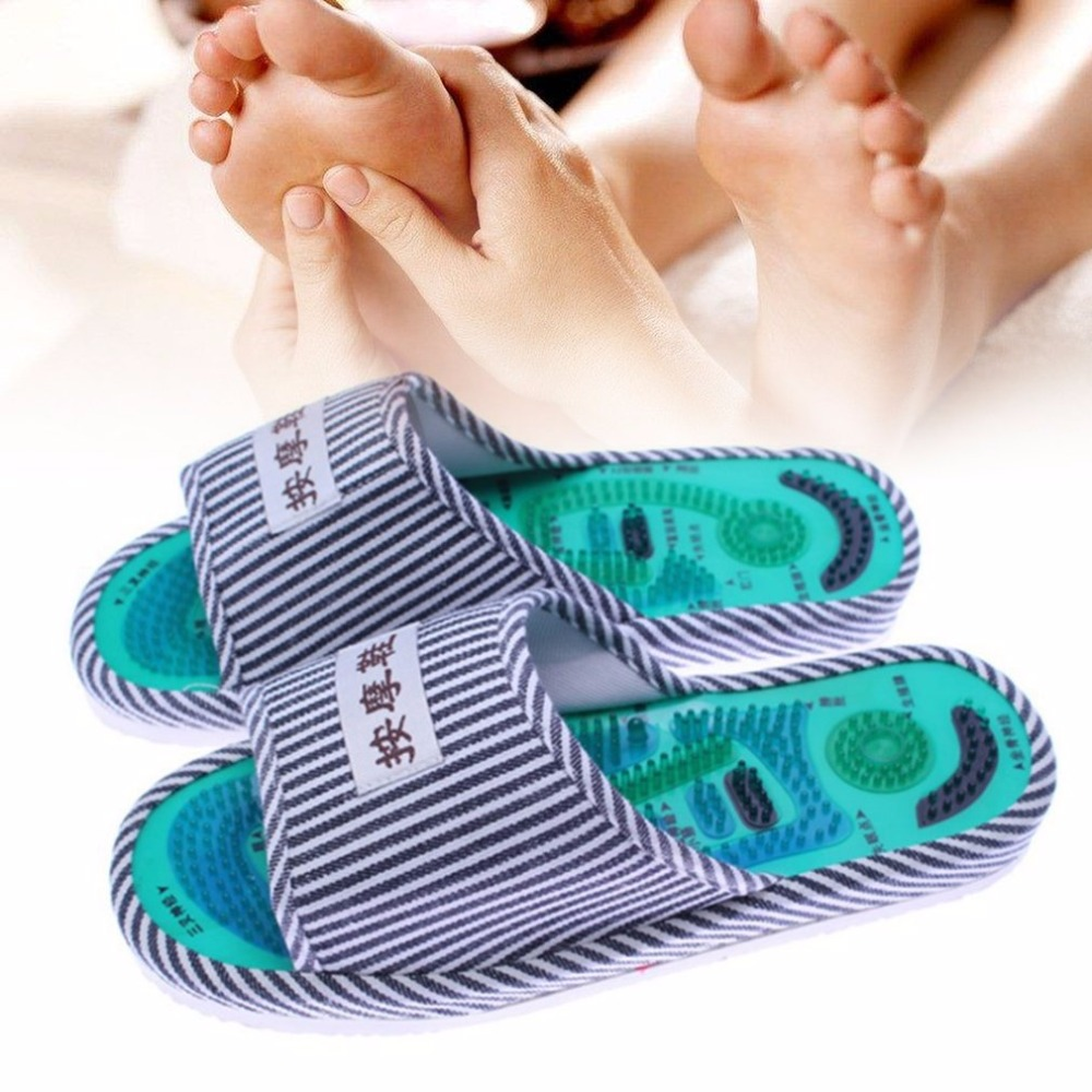 Fast Deliver 1 Pair Striped Pattern Foot Massager Acupoint Slipper Massage Promote Blood Circulation Relaxation Extender Foot Care Shoes Kits Clear-Cut Texture