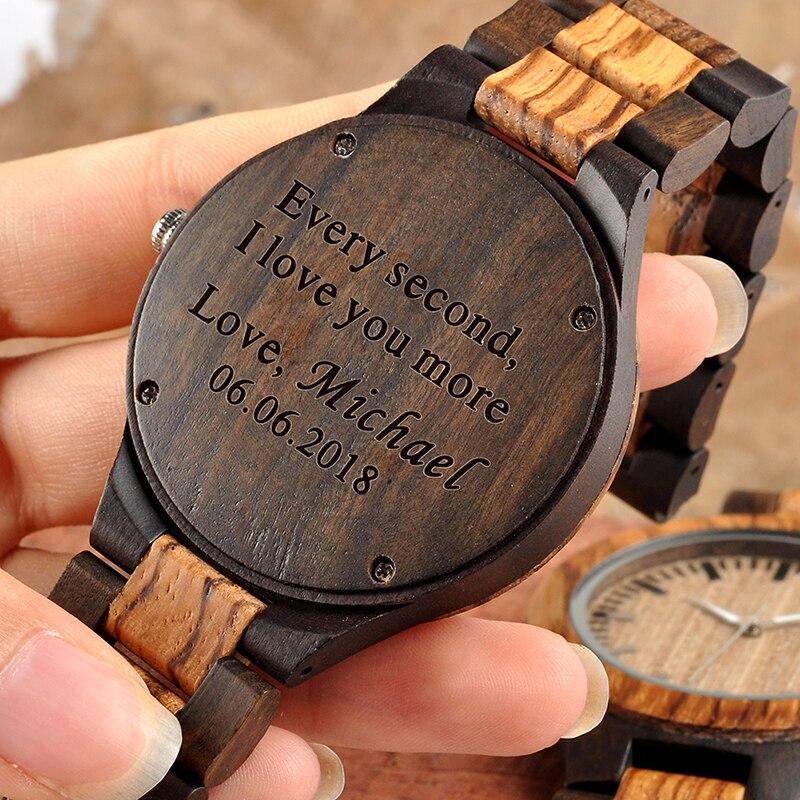 Personalisierte Holz Uhren für Männer Gravierte Jahrestag Geschenk Groomsmen Geschenk Familie Geschenk für Vater