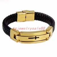 Newest Fashion Gold Color Magnet Clasp Stainless Steel Cross ID Chain Bracelet Men's Cuff Jewelry Vintage Black Leather Bangles