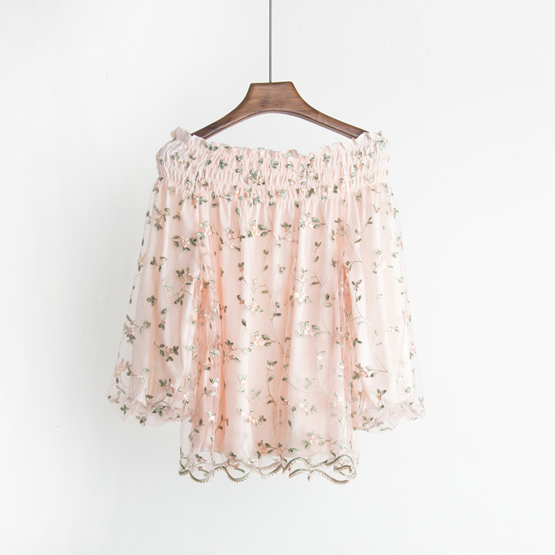 Free shipping 2018 Spring The New A word collar Strapless embroidery Flowers Lantern sleeve fashion women's clothing temperament 4