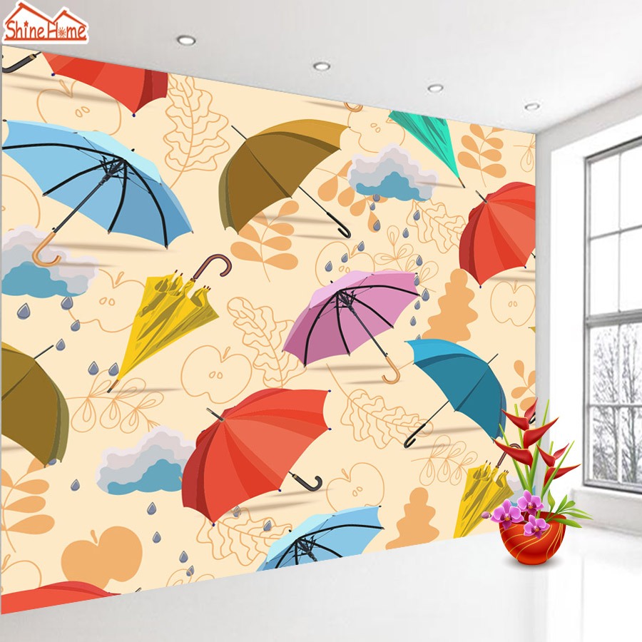 ShineHome-Large Custom Cartoon Umbrella Photo wallpapers 3d Modern Living Room Wall Murals Wallpaper for Baby Children Room shinehome butterfly nordic wall picture wallpapers 3d wallpaper for walls 3 d living room wall paper wallpaper murals roll art