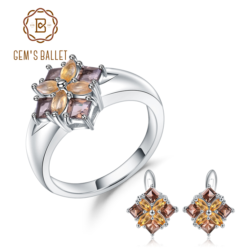 GEM S BALLET Natural Smoky Quartz Citrine Earrings Ring Set Fine Jewelry 925 Sterling Silver Classic