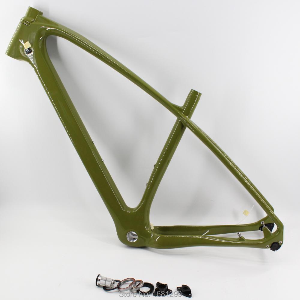 New dark green 27.5 29er 15.5 17.5 19 inch Mountain bicycle full carbon fibre bike frame carbon thru axle MTB headset Free ship