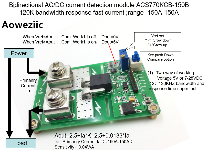 Aoweziic ACS770KCB-150B ACS770 AC/ DC detection over current protection module over current protection function Rang:-150A-150A 1pcs current detection sensor module 50a ac short circuit protection dc5v relay page 6
