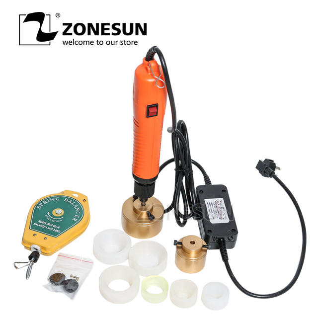 ZONESUN 10-50mm גדול מומנט מהירות מתכוונן מכסת מכונה כף יד חשמלי איטום מותחן דופק Capper פלסטיק בקבוק