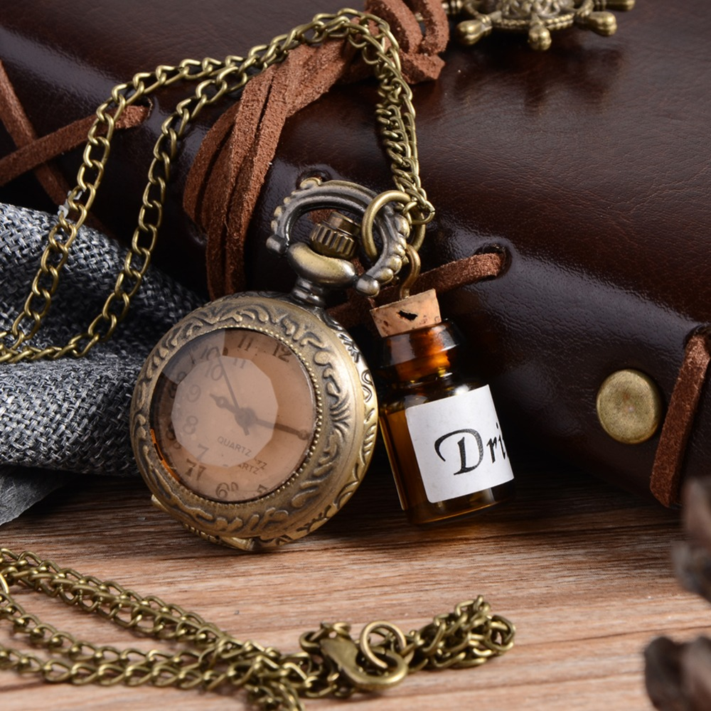 Vintage Glass Alice In Wonderland Drink Me Bottle Dark Brown flip Quartz Pocket Watch for Women Lady Girl Gift Steampunk necklac alice in wonderland drink me tag rabbit quartz pocket watch gift set pendant necklace fob chain with gift box for women mens