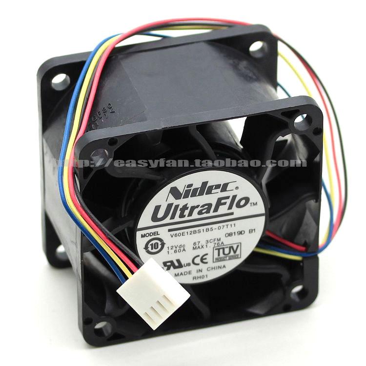Nidec V60E12BS1B5-07T11 DC 12V 1.60A 60x60x38mm Server Square fan