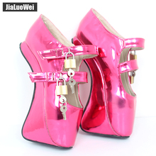 jialuowei New 18CM/7High Heel Hoof Heelless Shoes Sexy Fetish Pinup Ballet Lockable Wedge Pumps Custom Crystal
