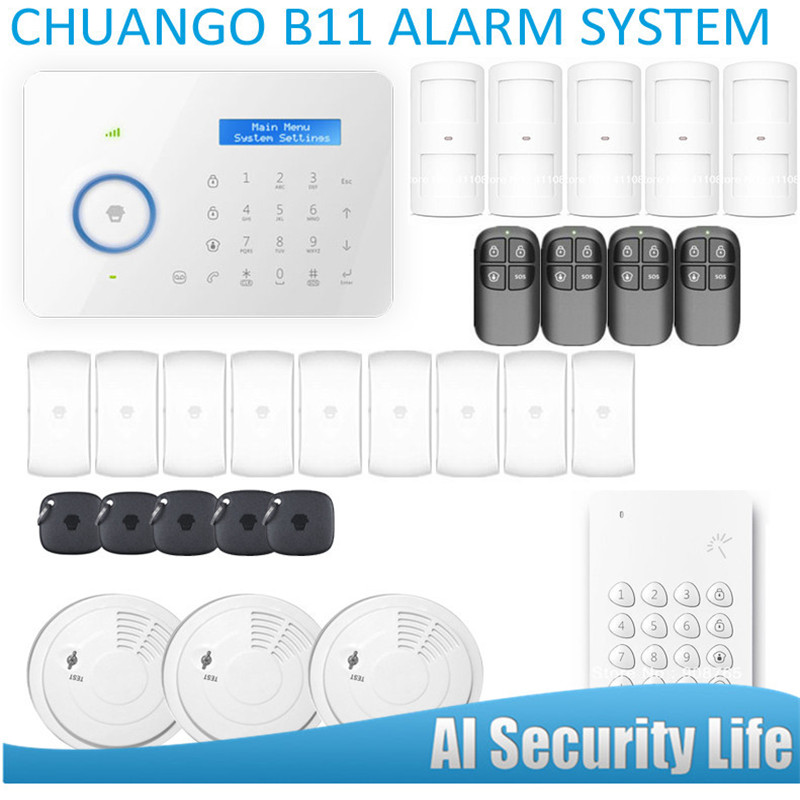 Smart Home Etiger  Chuango B11 Dual network PSTN and GSM burglar Security Alarm System Built-in LCD Display and Touched Screen etiger hot selling b11 dual network pstn and gsm burglar security alarm system 315