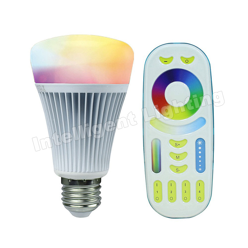 8W 2.4G smart Mi Light LED Bulb, AC85-265V Wireless E27 RGBWW,Color Temperature Dimmable + 2.4g RGBW RF Remote