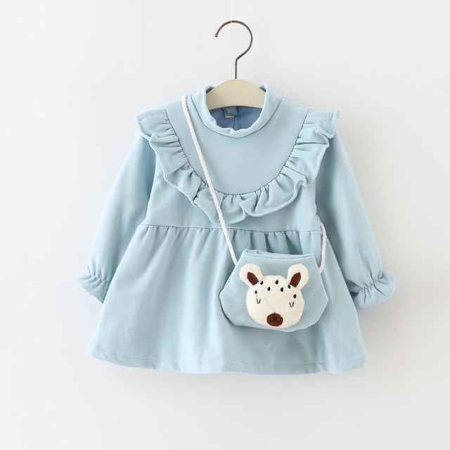 2016 new spring and autumn day baby dress girl dress princess dress cotton clothing children's dress + bag 2pcs free shipping