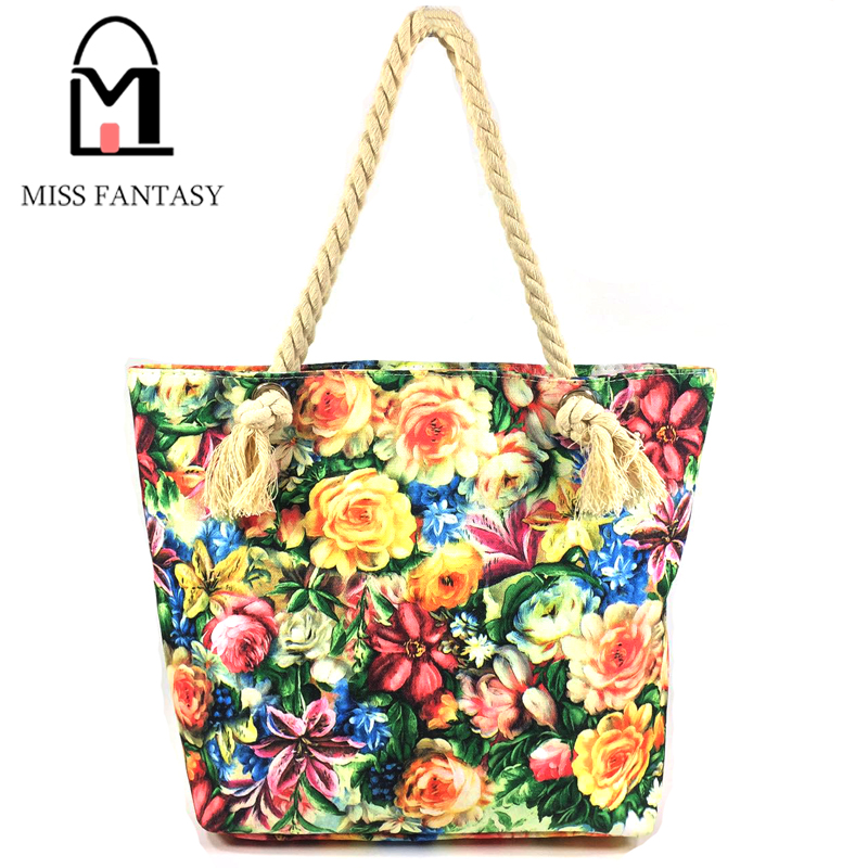 2016 Women's Handbag Vintage Canvas Bag Grey Flower Printed  Shopping Big Tote Travel Shoulder Bags With Extra Coin Purse
