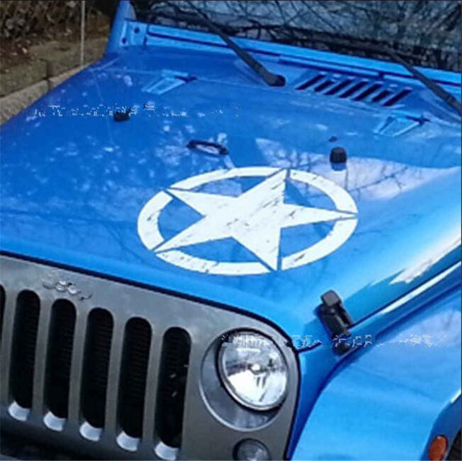 Car styling 2018 new 50x50cm white car distressed army star pattern vinyl decal stickers for jeep