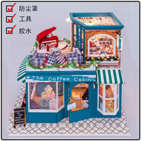 Hongda cafetería grande Europeo de BRICOLAJE de madera casa de muñecas miniaturas dollhouse miniatura kit tienda D013