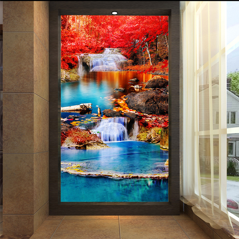 3D customized mural wallpaper medium-size oil painting with red maple river pattern as vertical background the corridor screen