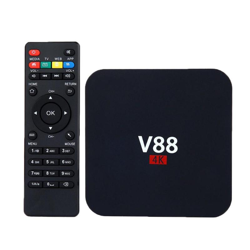 ALLOYSEED V88 for Android 7.1 Smart TV Box 4K Ultra HD RK3229 Quad Core 1GB+8GB WIFI Media Player Set-top Box US Plug jrgk rk3229 r9 plus android 5 1 tv box quad core 1gb 8gb 4k 2k wifi smart tv box hdmi 2 0 kodi 16 media player