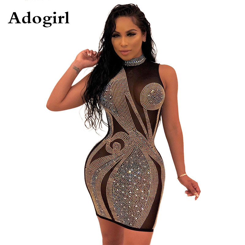 2020 Spring Diamonds Black Mesh Perspective Mini Dress Women Turtleneck Bodycon Dress Elegant Night Club Party Dresses