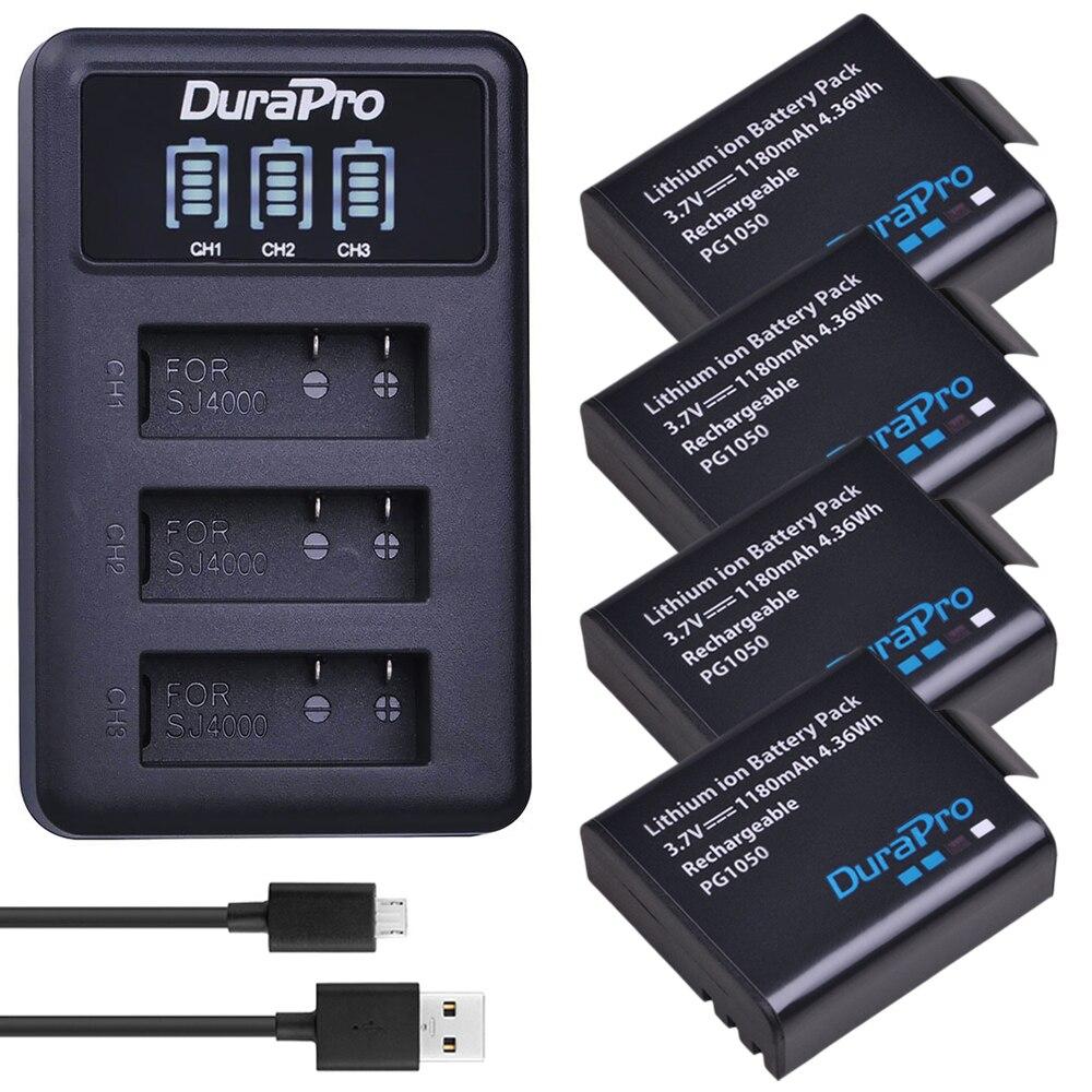 4x1180 mah PG1050 SJ4000 Caméra Batterie + LED 3-Slots USB Chargeur pour SJCAM SJ4000 SJ5000 SJ6000 SJ8000 EKEN 4 k H8 H9 GIT-LB101