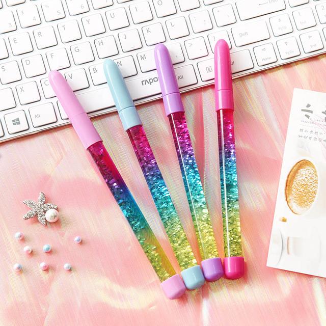 Cute 0.5mm Fairy Stick Ballpoint Pen Drift Sand Glitter Crystal Pen Rainbow Color Creative Ball Pen Kids Gift Novelty Stationery